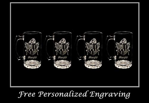 Murphy Irish Family Coat of Arms 16oz Beer Stein Set of 4: Free Shipping & Personalized Engraving