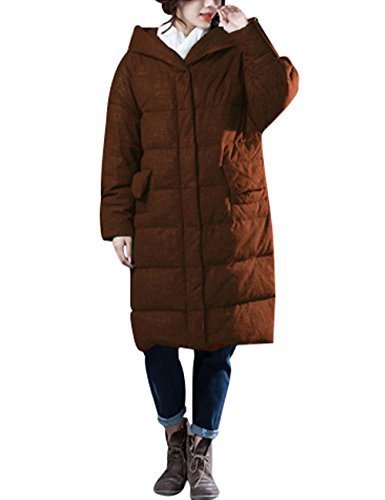 Zoulee Women's Winter Thick Warm Down Parka With Hooded Front Two Pockets Style 1 Caramel Colour XL by Zoulee (Image #2)