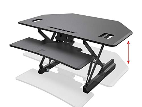Monoprice Height Adjustable Sit Stand Riser Corner Desk Converter - Black with 42 Inch Table Top Single/Dual Monitor Workstation| Easy to Use, Compatible with Most - Table Adjustable Surface Single Corner
