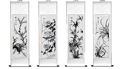 Master Wu's Chinese Traditional Hand Painting Ink Feng Shui Scrolled Painting Office and Living Room Decoration Wealth and Good Luck - Hand Painting Chinese Scroll Art