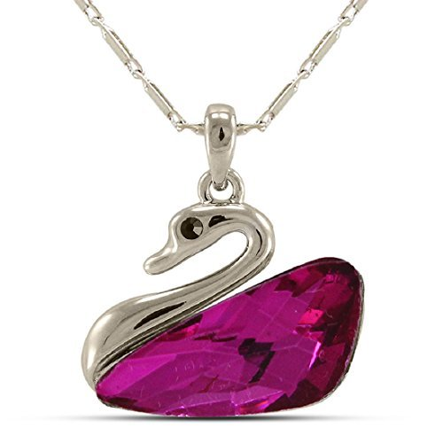 Vorra Fashion Women's Create Party Wear Swan Pendant Dark Pink Cz Platinum Plated Alloy With Chain from Vorra Fashion