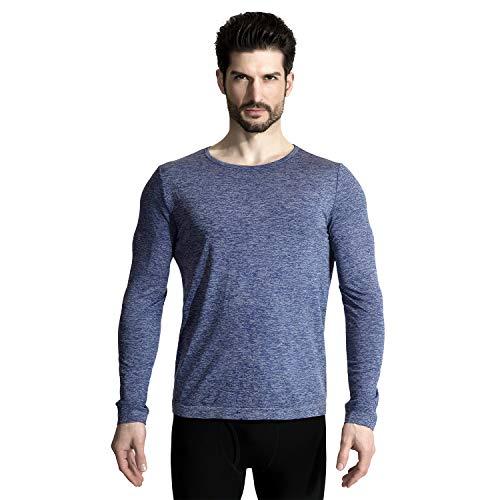 M-D Men's Seamless Wool Crew Neck Long Sleeve T-Shirt Thermal Underwear Shirt Base Layer Top Navy XL