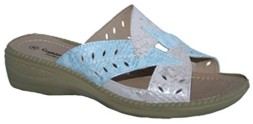 Cushion Walk Ladies Lightweight Summer Mule with Leaf Design Pink/Blue XUUVj