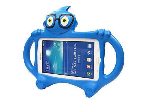 Galaxy Tab 4 7.0 Kids Case, Tab 3 Lite Case, Tading Non-toxict Kids Friendly Shockproof EVA Foam Holder Stand Cover for Samsung Tablet 7 inch Screen NOT Fit For 8 Inch - Blue (Cartoons 4 Tab Galaxy Case)