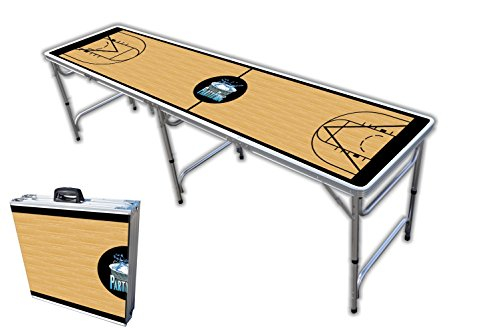 8-Foot Professional Beer Pong Table w/Optional Cup Holes – Basketball Court Graphic