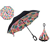 ZAIHW Double Layer Inverted Umbrella - Reverse Double Layer Long Umbrella, C-Shape Handle & Self-Stand to Spare Hands,Carrying Bag for Easy Traveling (Color : B)