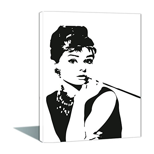 Paint by Numbers 16 x 20 inch Canvas Art Kits DIY Oil Painting for Kids/Students/Adults Beginner Wall Decorative Painting, Audrey Hepburn(Wooden Framed)