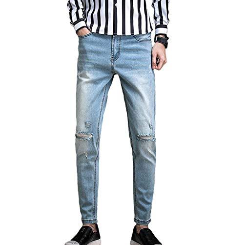 Boy Wild Classic Hombres Fit Casuales Cómodo Blau Vaqueros Mezclilla Destroyed Slim R De Stretch Jeans Pantalones Los Battercake wI4Yaxp0qn