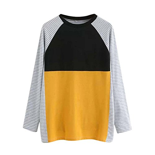 Price comparison product image Besooly Women Striped Long Sleeve O-Neck Stitching T Shirts Loose Tops Blouse Work Office Business Jumpers Sweatshirts