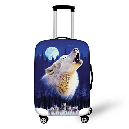 FOR U DESIGNS Crying Wolf Travel Luggage Cover Dustproof Suitcase Protective Cover Fit for 22-25 Inch Luggage