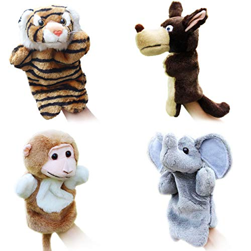 4pcs Animal Hand Puppets for Kids Fit Adults and Children Storytelling Game Props--Forest Animals