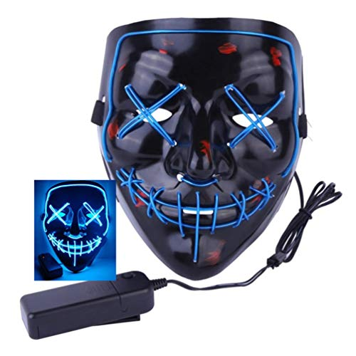 2018 Halloween Scary Mask LED Light Up Purge Mask for Festival Cosplay Halloween Costume (Blue Mask)
