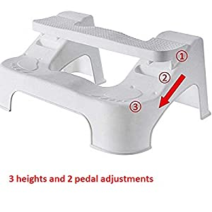 Kurtzy Western Toilet Squat Stool Non-Slip Height Adjustable Comfortable Foot Step for Potty Training Kids and Adults