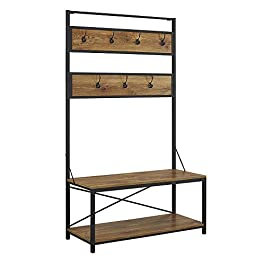 WE Furniture Farmhouse Entry Bench Mudroom Hall Tree Storage Shelf Coat Rack, 72 Inch, Barnwood