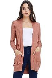 Alexander David A D Women S Basic Open Long Sleeved Soft Knit Cardigan Sweater Lightweight With Pockets H Coral Medium Large