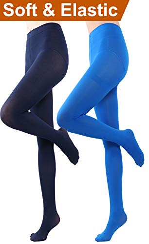 HeyUU Women's Semi Opaque Solid Color Soft Footed Pantyhose Tights 2 Pack (2 Pairs-Dark Blue/Royal Blue) (Blue Pantyhose)