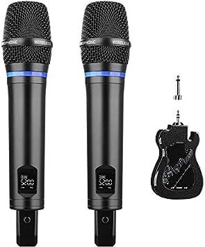Micrófono Inalámbrico, Micrófono Recargable Dual Sistema de UHF Dual Micrófono Karaoke Profesional Portátil con Mini Receptor Bluetooth para Wedding Karaoke DJ Reuniones Actividades Espectáculos