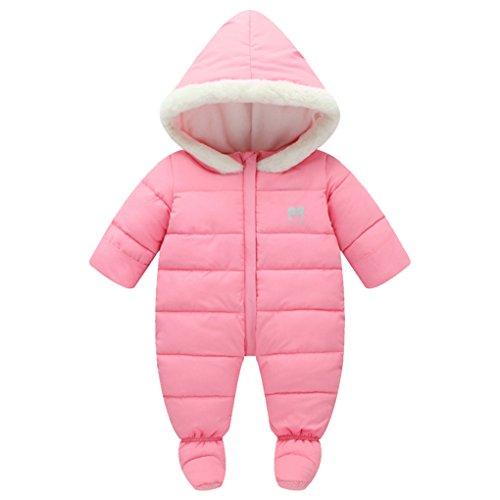 Fur Trim Hooded Down Snowsuit Footie Romper Puffer Jacket Jumpsuit Pink Size 100(6-12Months) ()