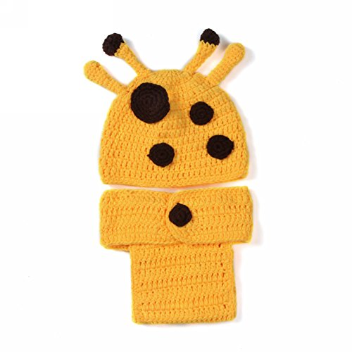 Newborn Baby Girl Boy Crochet Knit Giraffe Hat Diaper Costume Photography Prop Set