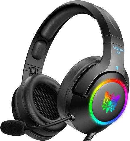 ONIKUMA RGB Gaming Headset for PC, PS5, PS4, Xbox one (Adapter Not Included), Laptop, Noise Canceling Gaming Headphone with Microphone & Surround Sound, RGB LED Light