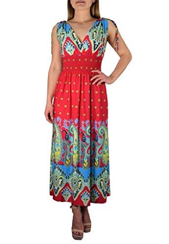 Grecian Style Evening Gowns (Peach Couture Women`s Summer Exotic Tahiti Polka Dot Print Sleeveless Maxi Dress (Fuchsia & Turquoise/)