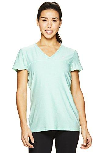 HEAD Women's High Jump Short Sleeve Workout T-Shirt - Performance V-Neck Activewear Top - Neptune Green Heather, Medium