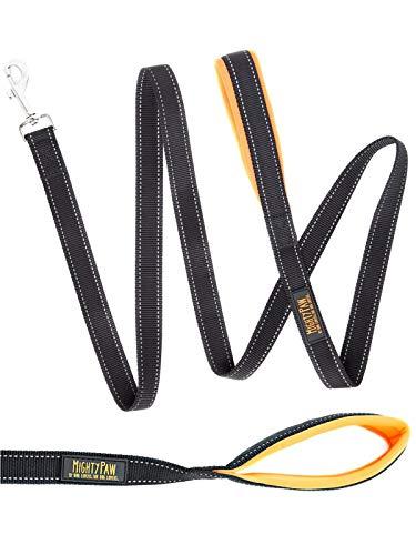 Mighty Paw Reflective Dog Leash - 6 Feet, Premium Quality Dog Leash with Neoprene Padded Handles (Black/Orange)