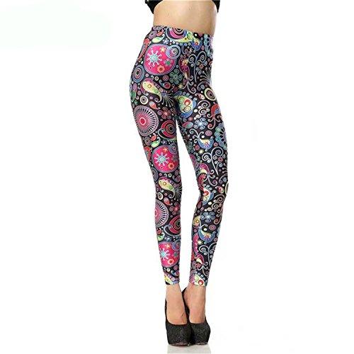 Cheryl Bull Legging Digital High Waist Elastic Slim Legins Retro Cartoon Flower Print LegginsPants (Cheryl Halloween Outfit)