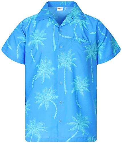 - Funky Hawaiian Shirt, Shortsleeve, Palmshadow New, Turquoise, XL