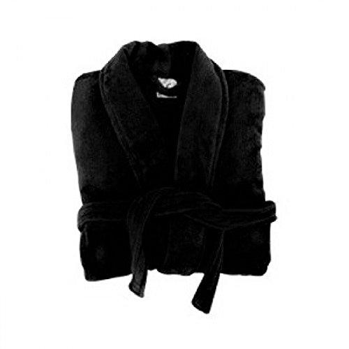 Ultra suave Gorgeous Ladies Negro Super Suave Sedoso tacto aterciopelado albornoz 12/14