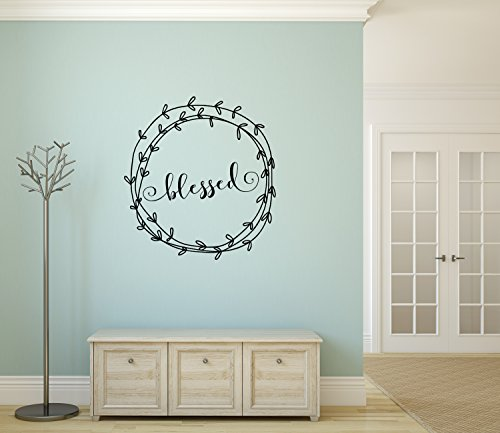 The Vinyl Design Company Blessed Vinyl Decal with Laurel Wreath Border - Blessed Wall Art Decor Sticker 23