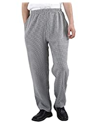 Nideen Men's Elastic Striped Chef Pants Floral Restaurant Work Uniforms Baggy Pants