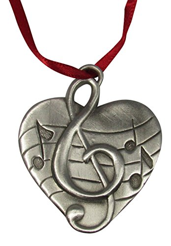 Love of Music Solid Fine Pewter Decorative Hanging Ornament with Music Notes and G (Musical Note Ornaments)