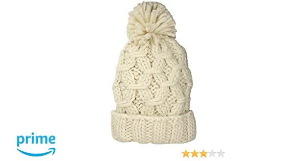 95aa7950069 San Diego Hat Company Women s Crochet Chunky Yarn Beanie with A Cuff   Pom  Ivory One Size at Amazon Women s Clothing store