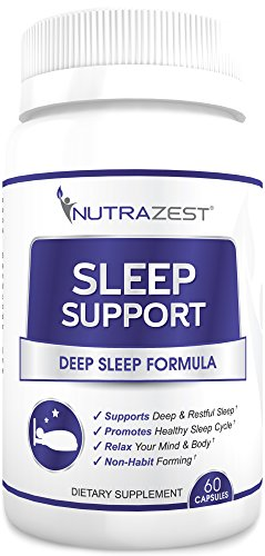 Sleep Support - All Natural Non-Habit Forming Sleep Aid to Reduce Symptoms of Insomnia – Deep Sleep Formula Reduces Feelings of Grogginess, Waking Up Exhausted, Anxiety & Stress - 60 Capsules