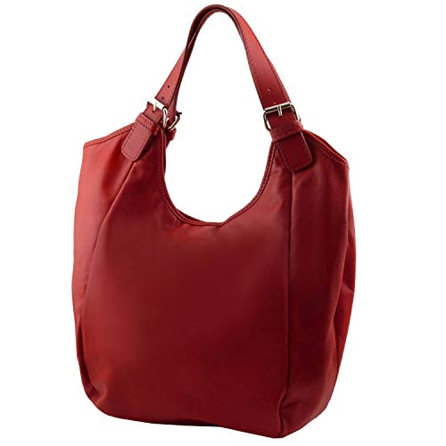 Tuscany Blu Borsa donna Leather scuro in Gina Rosso pelle shopping aZ6cay