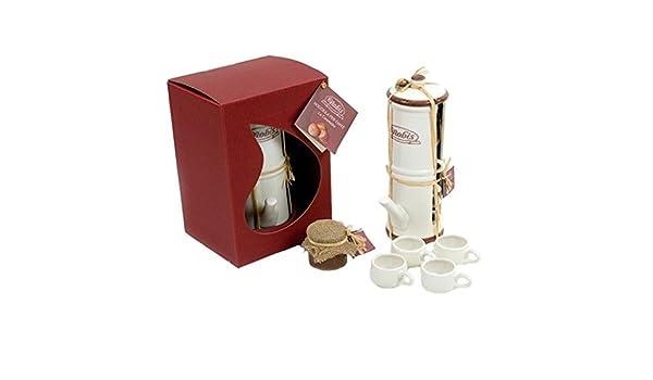 cafetera napolitana con 4 tazas de café de cerámica: Amazon.es ...