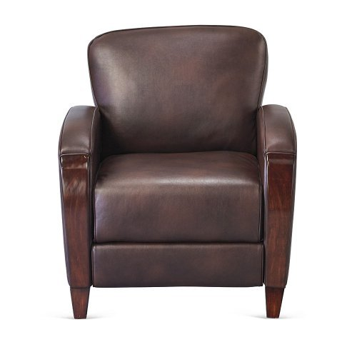 Officient Houston Collection Tuscany Wood Trim Club Chair in Roasted Chestnut Faux (Houston Leather Accent Chair)