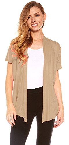(Red Hanger Cardigans for Women - Short Sleeve Womens Open Cardigan Sweaters (Taupe-M) )