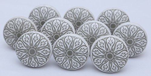 Grey Ceramic Flat White Drawer Pulls and Knobs Handmade Designer Set of 12 Silver Finish - Grey Silver Knob
