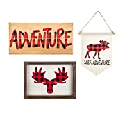 Woodland Wall Decor 3 pack- buffalo plaid, moose, and adventure - Woodland Nursery Decor - Red and Black Buffalo Plaid adventure sign