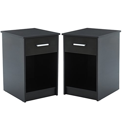 Mecor Nightstands End Table with Shelf Drawer Bedroom Furniture Set of 2 Black (Nightstand Bedside)