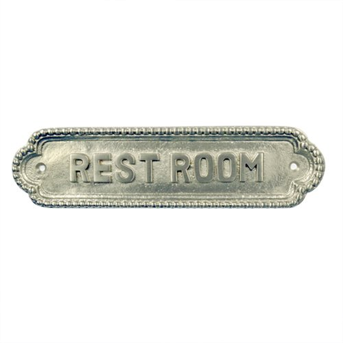 Adonai Hardware Rest Room Brass Door Sign (Satin Nickel) (Sign Door Satin)