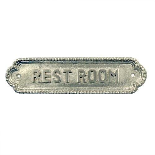 Adonai Hardware Rest Room Brass Door Sign (Satin Nickel) (Satin Door Sign)
