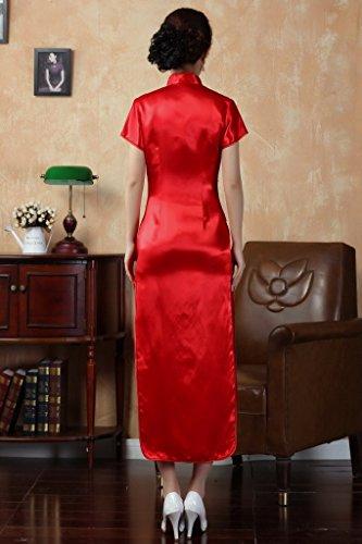 JTC Femme Robe avec Fleur Brodé Chinoise de soirée Longue Cheongsam avec Manche Qipao en Soie Artificielle Rouge (34)