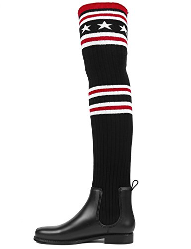 MaxMuxun Women Shoes Knit Thigh High Rain Boots Over The Knee Sock Boots Black SPiNyEot