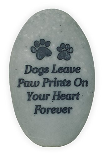 AngelStar Dogs Leave Paw Prints on Your Heart Forever Rainbow Bridge Pet Stone, Deep Grey