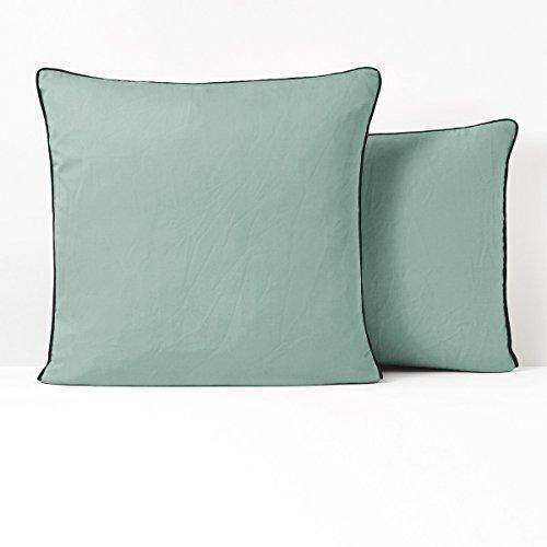 Satin Squares Coverlet (La Redoute Interieurs Pavone Washed Cotton Satin Pillowcase Blue Size Square (63 X 63Cm))