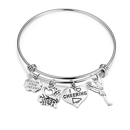 RQIER Cheer Bracelet Girls Cheerleading Expandable Wire Bangle Gift for Cheerleaders/Cheer Teams/Cheerleading Coaches (Silver)