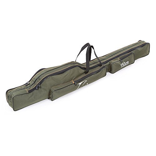 Docooler Portable Folding Fishing Rod Carrier Canvas Fishing Pole Tools Storage Bag Case Fishing Gear ()